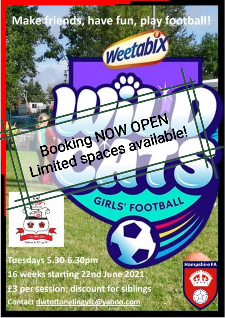 Wildcats Girl's football training at Totton & Eling FC